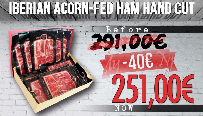 Iberian acorn fed ham hand cut vacuum packed