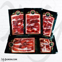 Myjamon Iberian Cebo ham in five vacuum packed bags of 100 gr each