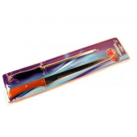 Estuche de plastico compuesto por cuchillo jamonero largo con puño de madera y afilador